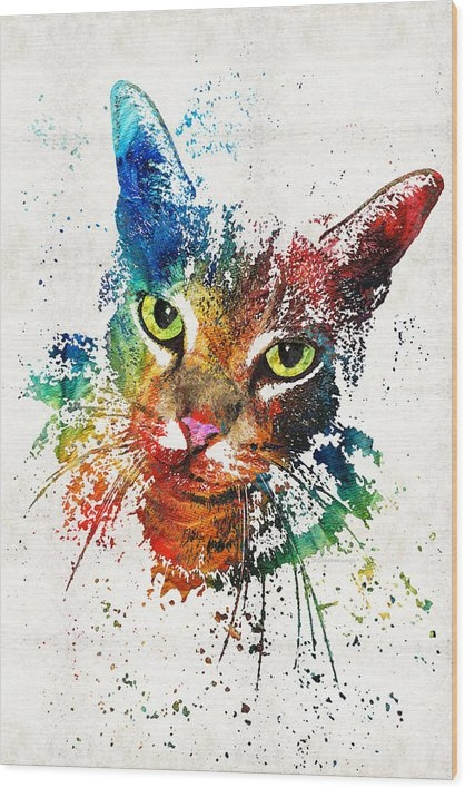 Sharon Cummings - Colorful Cat Art by Sharo... Print