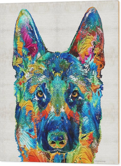 Sharon Cummings - Colorful German Shepherd ... Print