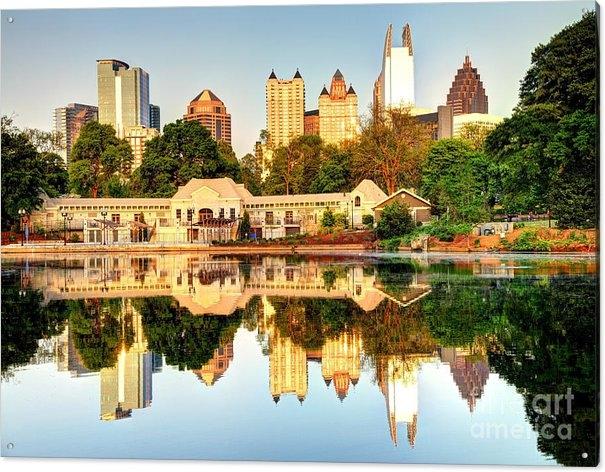 Denis Tangney Jr - Atlanta Skyline Reflectio... Print