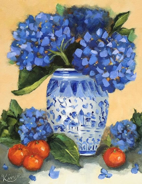 Kim Peterson - Still Life with Blue Hydr... Print