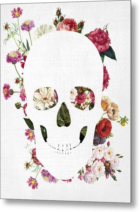 Francisco Valle - Skull Grunge Flower 2 Print