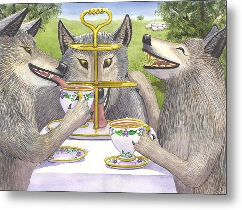 Catherine G McElroy - Wolves Tea Party Print
