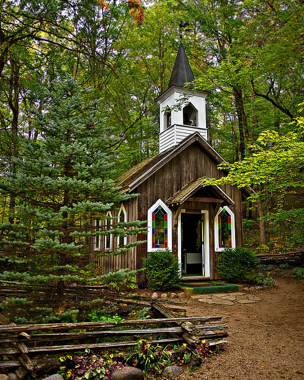 Judy  Johnson - Chapel in the Woods Print