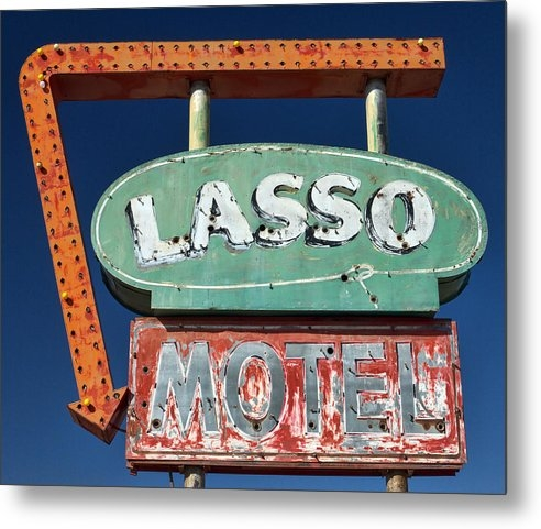 Carol Leigh - Lasso Motel Sign on Route... Print