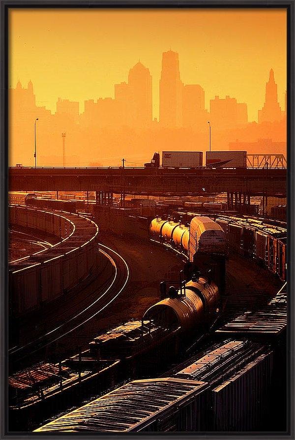 Don Wolf - Trains at Sunrise Print
