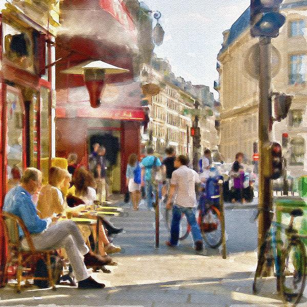 Marian Voicu - Paris Streetscape waterco... Print