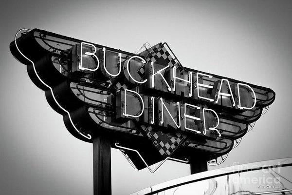 Reid Callaway - Buckhead Diner Sign BW Si... Print