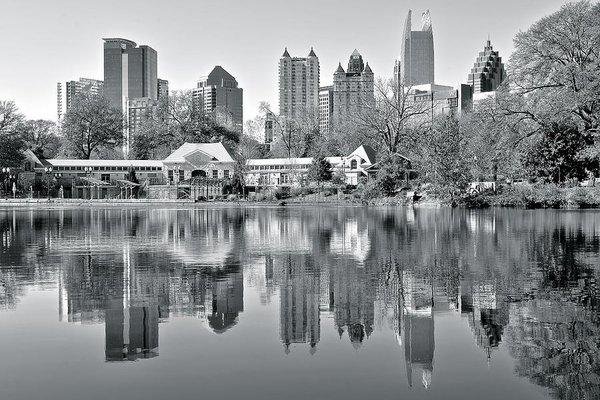 Frozen in Time Fine Art Photography - Atlanta Reflecting in Bla... Print