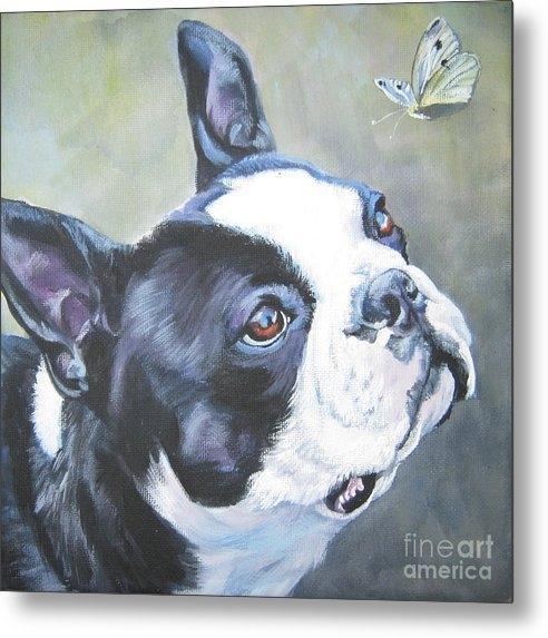 Lee Ann Shepard - boston Terrier butterfly Print