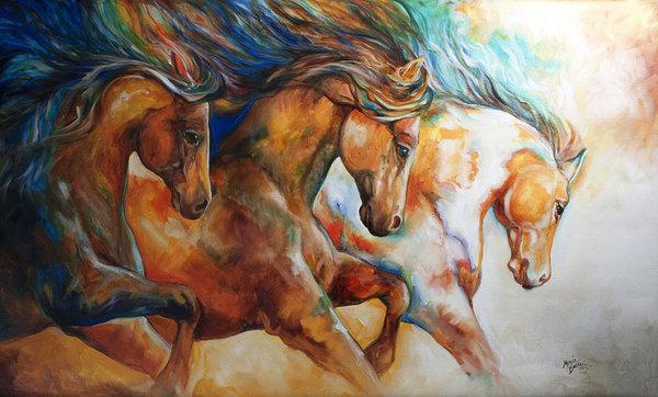 Marcia Baldwin - Wild Trio Run Print