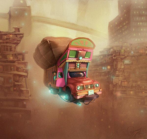 Omar Gilani - Smog City Print