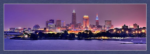 Jon Holiday - Cleveland Skyline at Nigh... Print