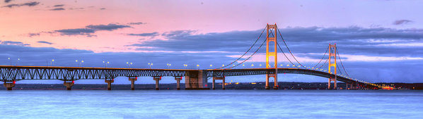 Twenty Two North Photography - Mackinac Bridge in Evenin... Print