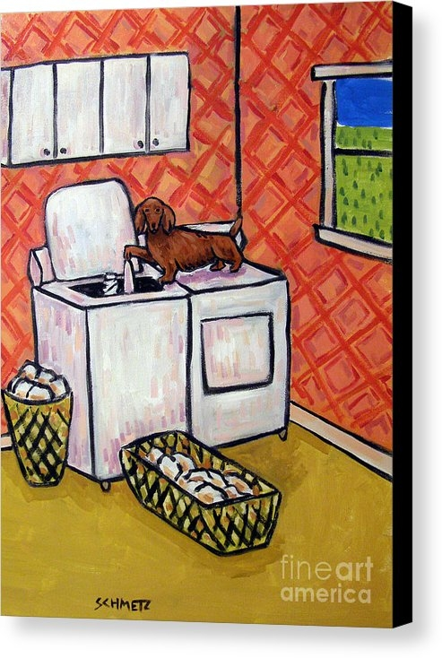 Jay  Schmetz - Dachshund Doing the Laund... Print