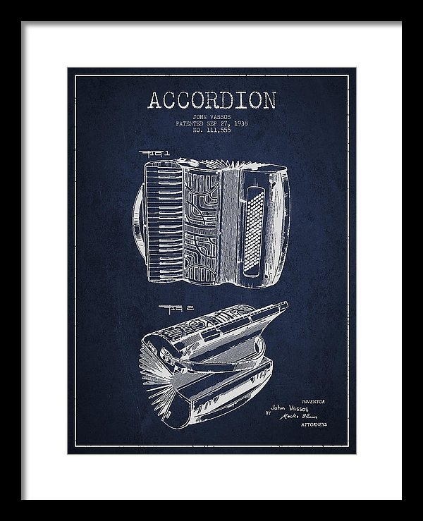 Aged Pixel - Accordion Patent Drawing ... Print