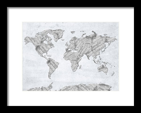 Bekim Art - World Map Music 10 Print