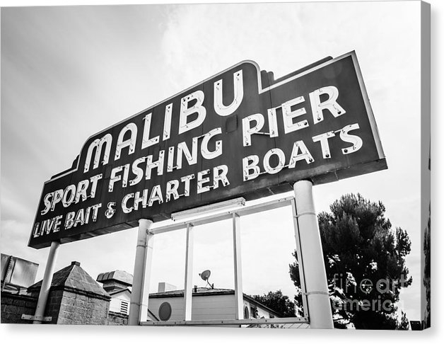 Paul Velgos - Malibu Pier Sign Black an... Print