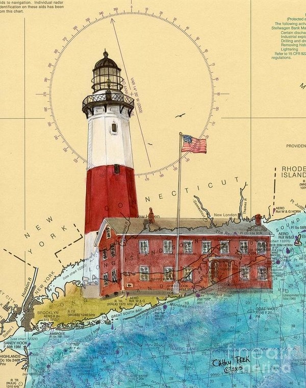 Cathy Peek - Montauk Lighthouse NY Nau... Print