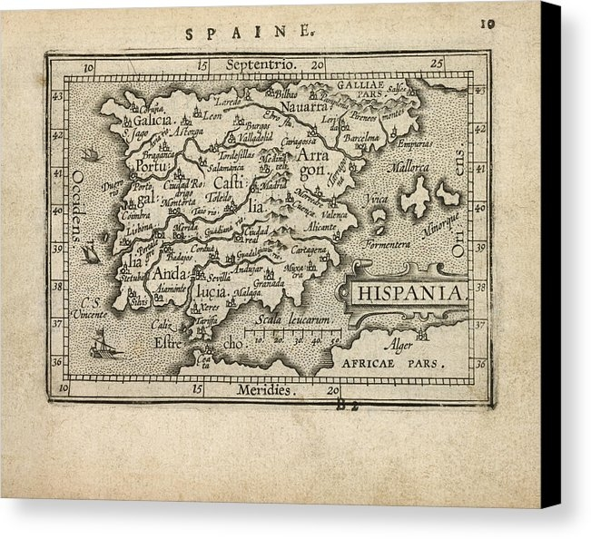 Blue Monocle - Antique Map of Spain and ... Print