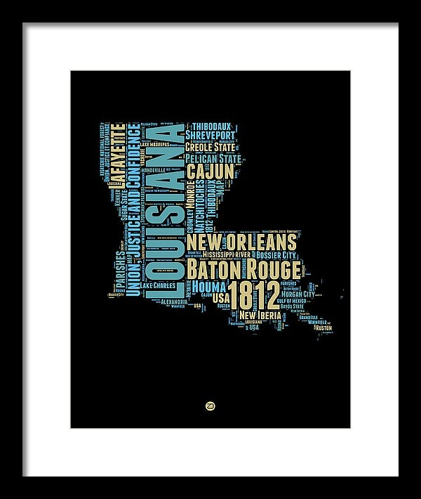 Naxart Studio - Louisiana Word Cloud Map ... Print