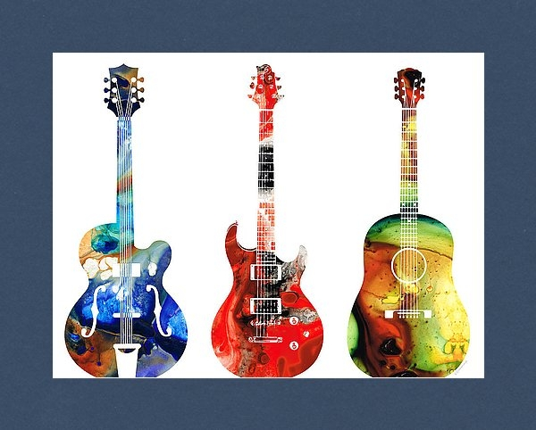 Sharon Cummings - Guitar Threesome - Colorf... Print