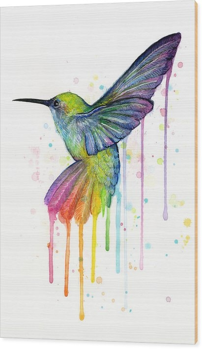 Olga Shvartsur - Hummingbird of Watercolor... Print