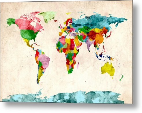 Michael Tompsett - World Map Watercolors Print