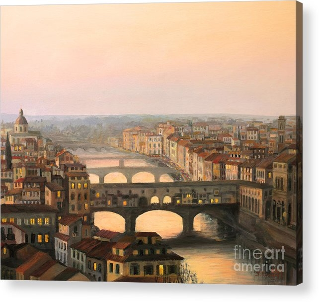 Kiril Stanchev - Sunset over ponte Vecchio... Print