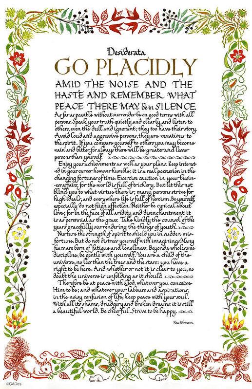 Desiderata Gallery - Desiderata Wildflowers Ca... Print
