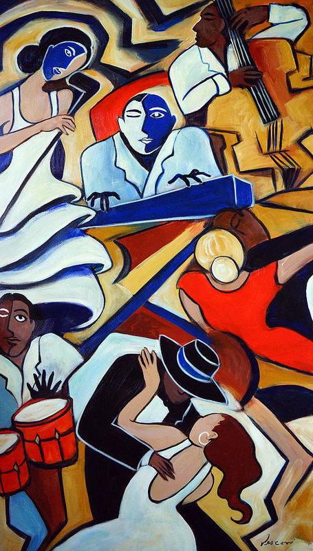 Valerie Vescovi - Blue Piano Red Bongos Print