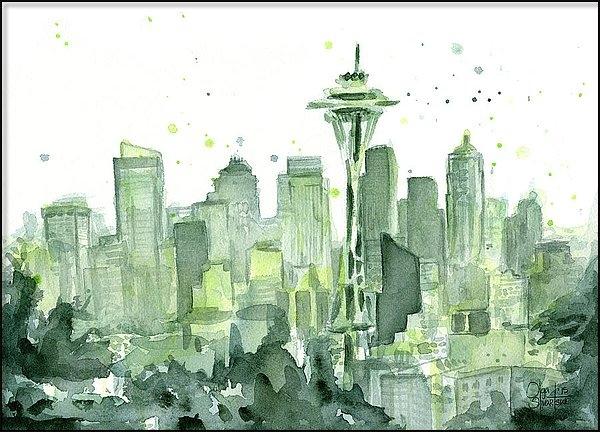 Olga Shvartsur - Seattle Watercolor Print