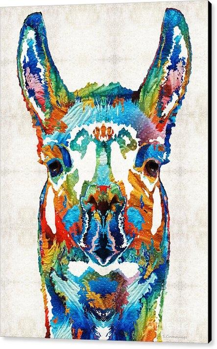 Sharon Cummings - Colorful Llama Art - The ... Print
