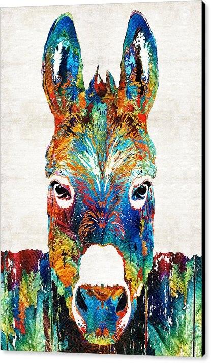 Sharon Cummings - Colorful Donkey Art - Mr.... Print
