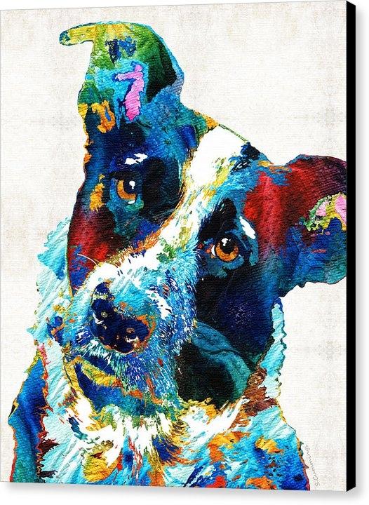 Sharon Cummings - Colorful Dog Art - Irresi... Print