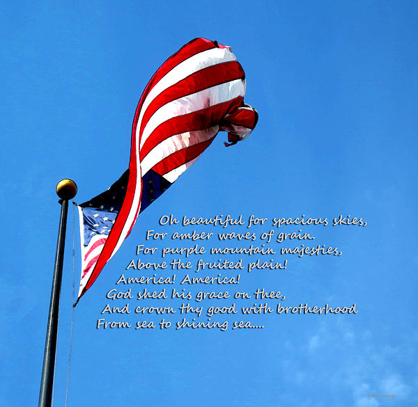 America The Beautiful Us Flag By Sharon Cummings Song Lyrics Greeting Card