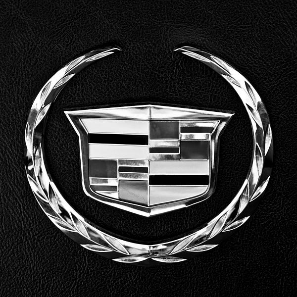Caddy Photographic Cadillac Emblem Logo on a Black T Shirt