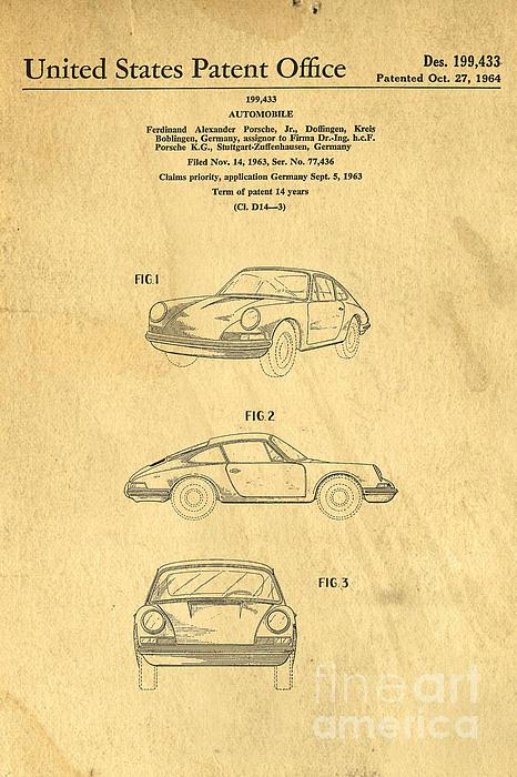 Edward Fielding - Porsche 911 Carrera 1964 Patent Art
