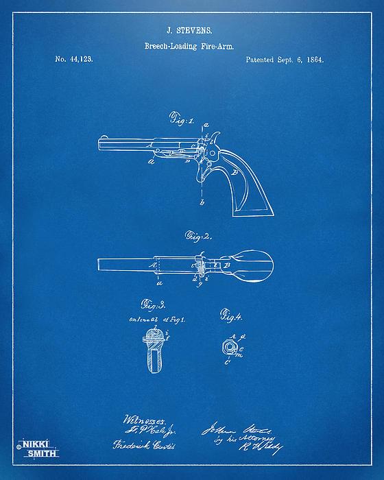 1864 Breech Loading Pistol Patent Artwork - Blueprint Greeting Card