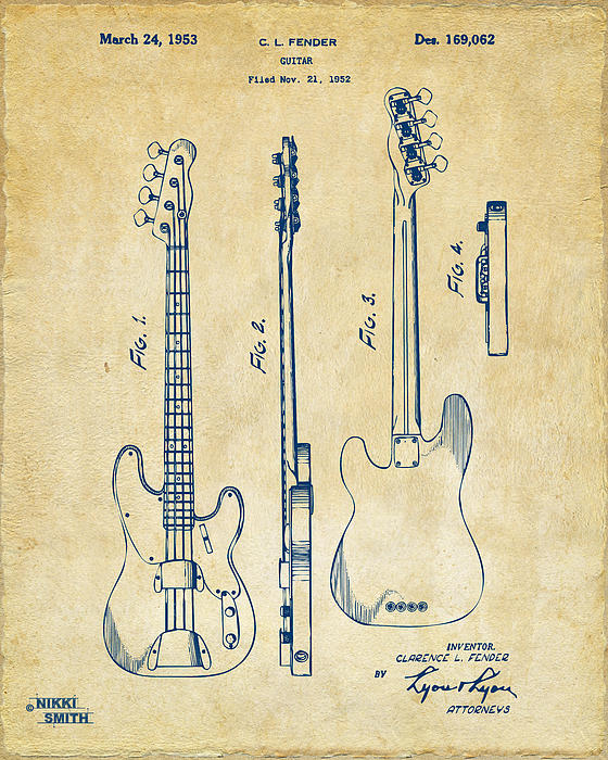 1953 fender bass guitar patent artwork vintage greeting card for 1953 fender bass guitar patent artwork vintage greeting card for sale by nikki marie smith bookmarktalkfo Choice Image