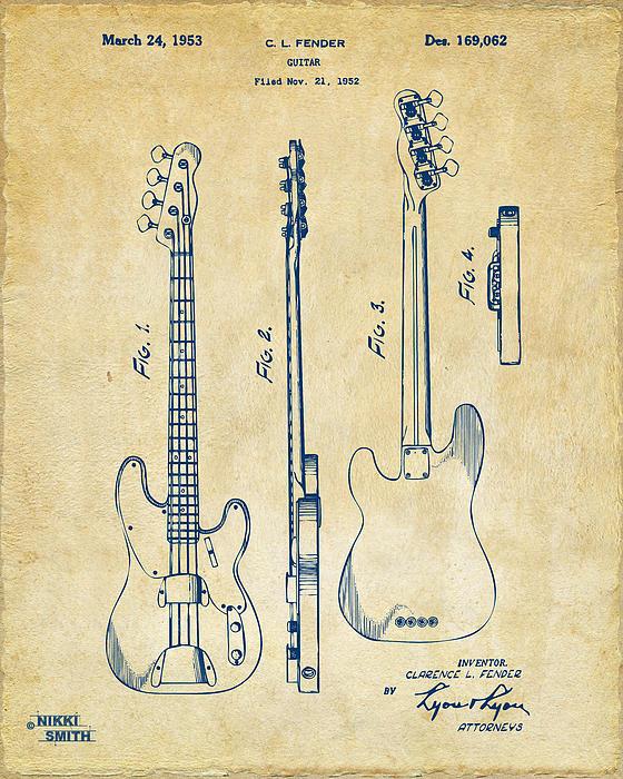 1953 Fender Bass Guitar Patent Artwork