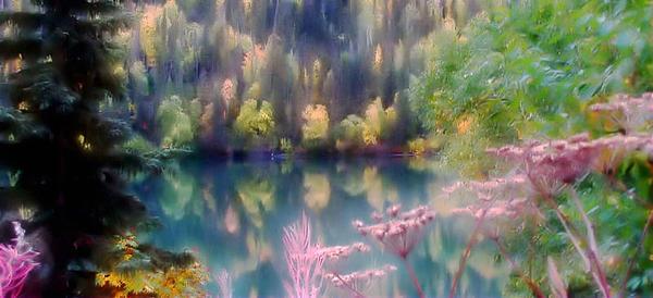 Katie Wing Vigil - Abstract Alaskan Lake