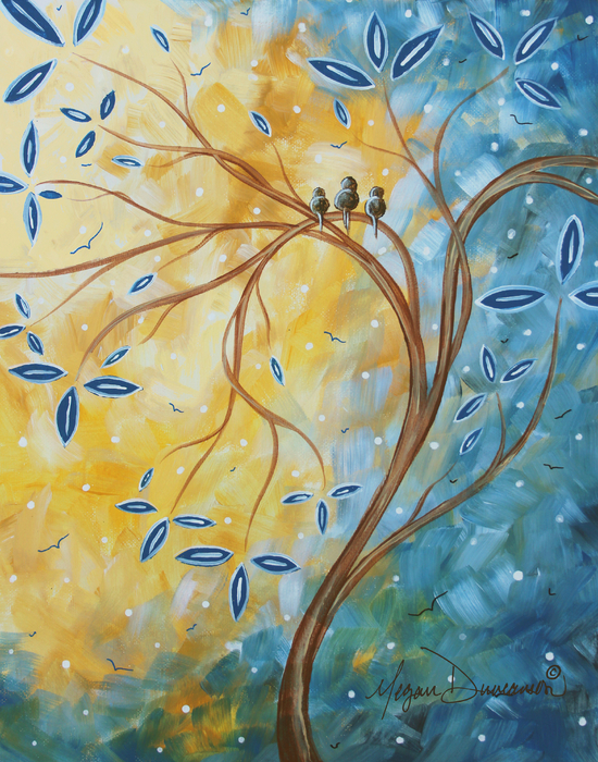 Megan Duncanson - Abstract Landscape Bird Painting Original Art Blue Steel 2 by Megan Duncanson
