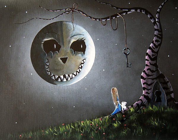 Shawna Erback - Alice In Wonderland Original Artwork - Alice And The Cheshire Moon