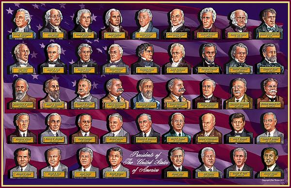 American presidents greeting card for sale by clive norton for Pictures of all presidents of the united states in order