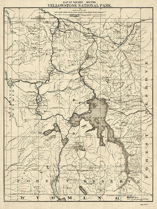 Antique Map Of Yellowstone National Park By The U S War Department 1900 Greeting Card