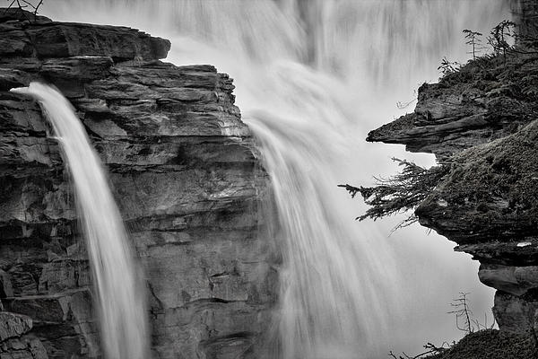 Stuart Litoff - Athabasca Falls - Black and White