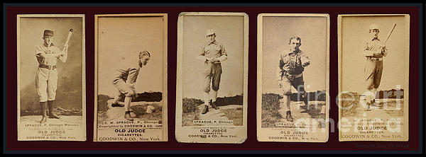 Baseball Cards Old Judge Cigarettes Player Sprague Chicago 1888 Greeting Card