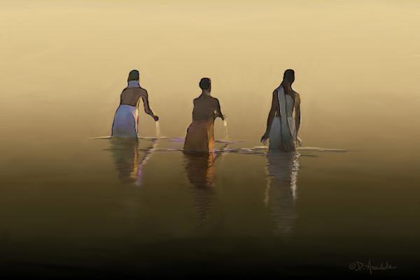 Dominique Amendola - Bathing in the holy river by Dominique Amendola