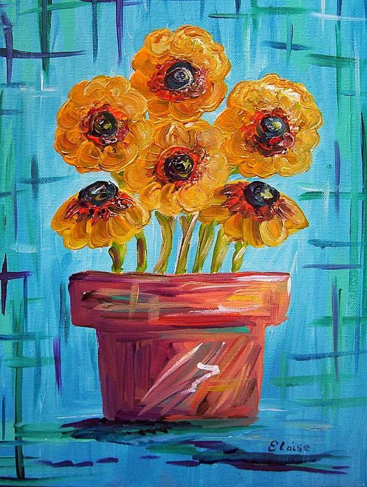 Eloise Schneider - Blue and Orange - Flowers in Football Colors