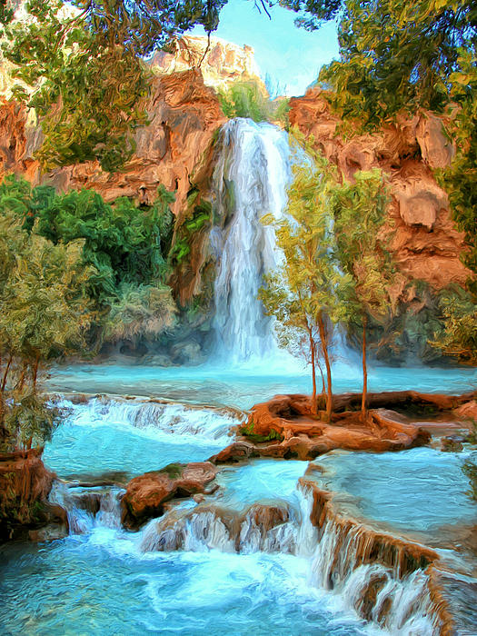 blue pool at havasupai falls greeting card for sale by